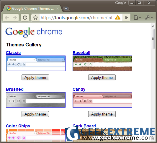 Google chrome themes screenshot