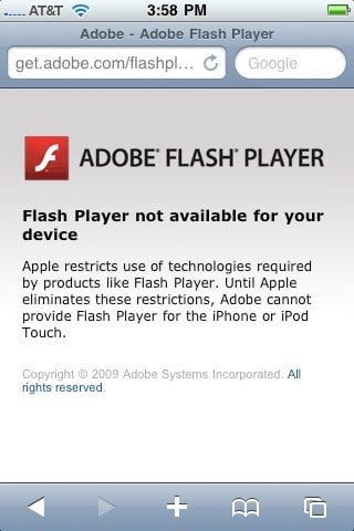 No Flash Player for iPhone