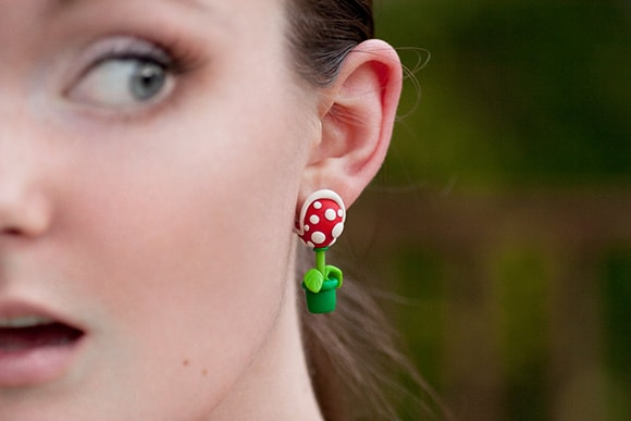 Mario Bros Piranha Plant Earring Set
