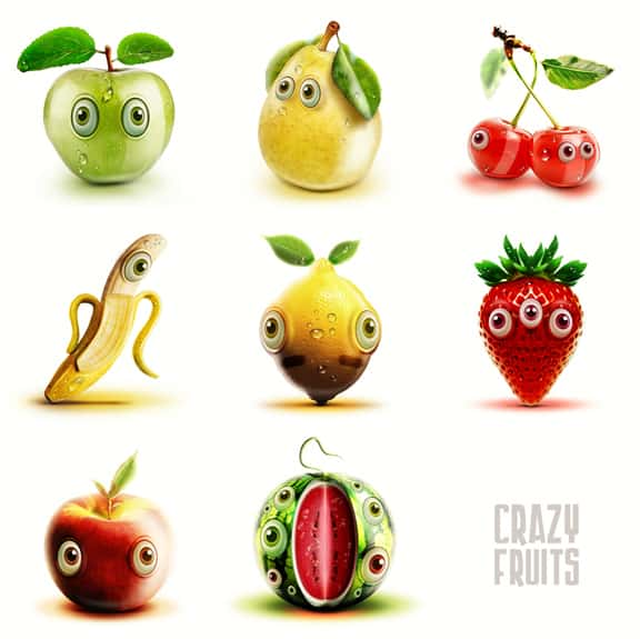 cute animated fruits