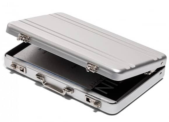 Mini Aluminum Briefcase Business Card Holder