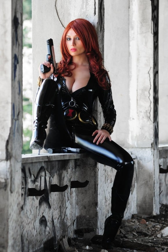 sexy black widow cosplay
