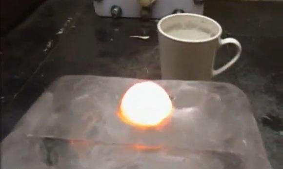 hot nickel ball through ice block