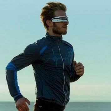 man running space glasses