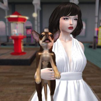 creepy cg woman and dog