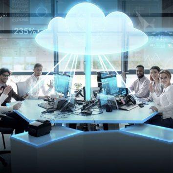 group of people cloud computing