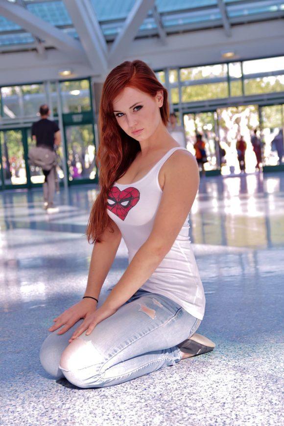 sexy geek girl spiderman shirt