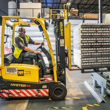 warehouse forklift working
