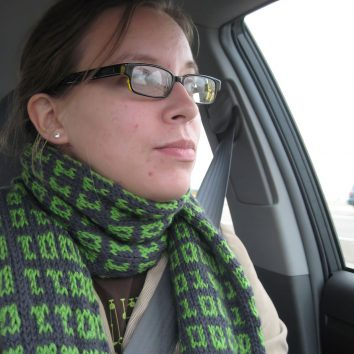 woman with geeky knitted scarf