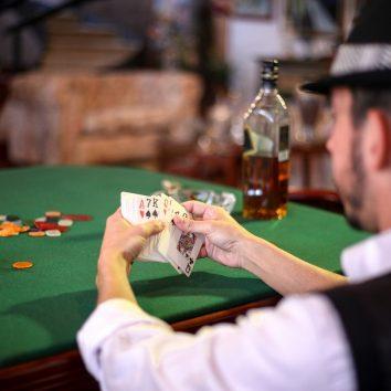 nerd playing poker